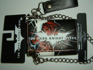 Batman Dark Knight Rises Bat Logo DC Comics Chain Wallet Nwt
