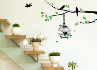 Newly listed A Tree Green Pink Bird Cage Removable Wall Decals Vinyl