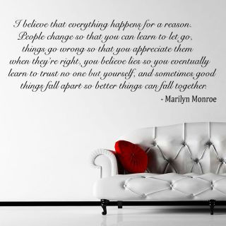 Monroe Quote I Believe Wall Sticker Decal Wall Mural Self Adhesive