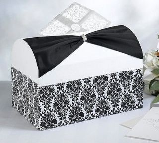 Black Damask White and Black Wedding Card Box Holder   Wishing Well