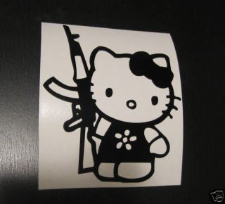 HELLO KITTY AK47 GUN decal vinyl window sticker colors