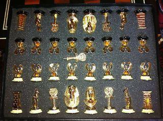 1980s Very Rare Franklin Mint Tut Tutankhamun Egyptian Chess Set GOLD