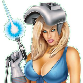 WELDER BABE Pin Up Girl Lethal Threat Tool Box Window Decal Sticker