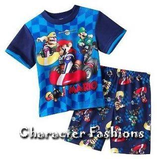 Boys MARIO KART Wii Pajamas pjs Size 4 6 8 10 12 Shirt Shorts NINTENDO