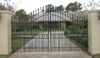 Wrought Iron Driveway Entry Gate 12ft Wide Dual Swing