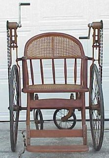 Radical Antique Hand Crank Wheelchair w Caned Seat
