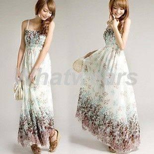 Womens Boho Chiffon Summer Floral Long Beach Braces Skirt Dress 3