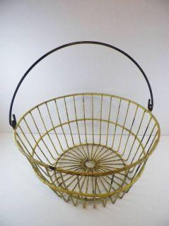 Vintage Primitive Wire Egg Gathering Basket Yellow Farm Kitchen Shabby