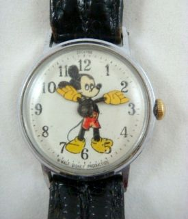 1960s Disney Mickey Mouse US Time Mens Wrist Watch Leather Strap