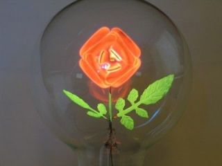 Figural Rose Aerolux Style Neon Glow Filament Light Bulb Pink Green