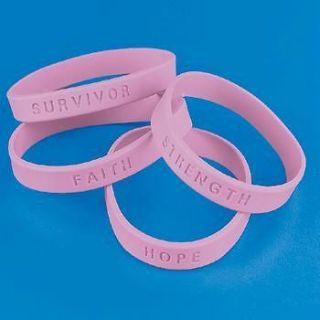 24 Breast Cancer PINK RIBBON BRACELETS Awareness 2 Dozen