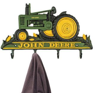 JOHN DEERE TRACTOR CAST IRON 4 HOOK COAT or HAT RACK NEW UNUSED KEY