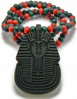 WOOD KING TUT PENDANT EGYPTIAN PHARAOH COLORED BEADS CHAIN WOODEN