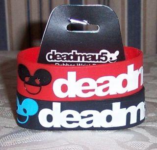 DEADMAU5 Logo Red/Black 2 Pack Rubber WRISTBANDS Bracelets Deadmouse