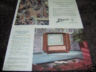 1953 Antique Zenith Royalty Radio & Television Ad