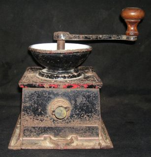 Antique T & C Clark Heavy Cast Iron Coffee Mill Grinder Very Rare Size