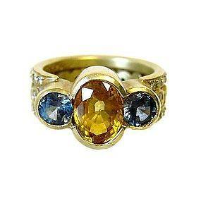 Doris Panos 18K Gold Yellow & Blue Sapphire Ring
