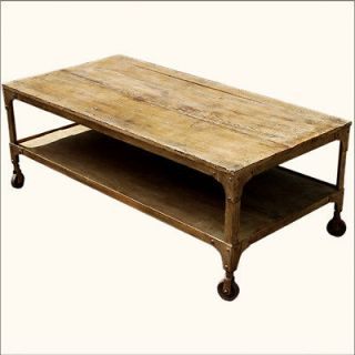 Tier Old Reclaimed Wood & Wrought Iron Rolling Wheels Coffee Table