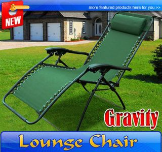 Green Zero Gravity Chair Folding Recliner Patio Pool Lounge Chairs