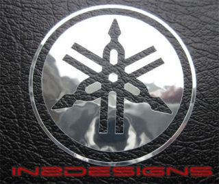 YAMAHA TUNING FORK BADGE DECALS STICKERS GRAPHICS SILVER CHROME x 2