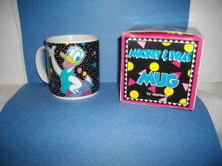 WALT DISNEY DONALD DUCK COFFEE TEA MUG CUP~22 YEARS OLD~NOS~ORIG. BOX