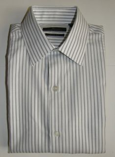 MARC ANTHONY MENS WHITE & BLACK SLIM FIT SPREAD COLLAR DRESS SHIRT