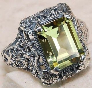 Amethyst 925 Solid Sterling Silver Edwardian Style Filigree Ring 7.5