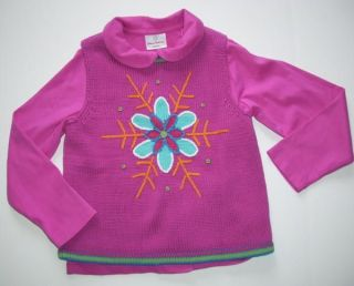 Hanna Andersson Girls 130 7 10 Snowflake Sweater Vest Shirt Set Pink