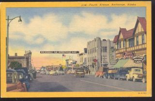 ANCHORAGE ALASKA 1940s CARS DOWNTOWN STREET SCENE VINTAGE POSTCARD