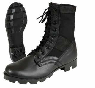 Black Leather Jungle Boots   Army Military Style   Brand New