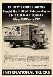 1938 Ad International Cab Over Engin​e Trucks Railway   ORIGINAL