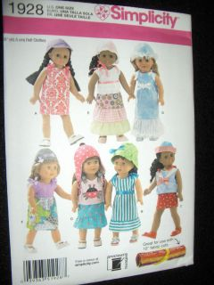 18 Doll American Girl Summer Clothes New Simplicity 1928 Pattern