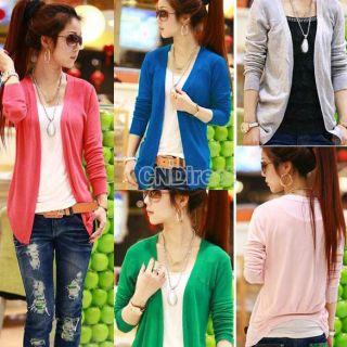 Fashion New Women Irregular Hem Long Sleeve Cardigan Knit Sweater