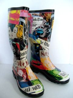 HENRY FERRERA OF NEW YORK LADIES RAIN/SNOW BOOTS   FACES PATTERN