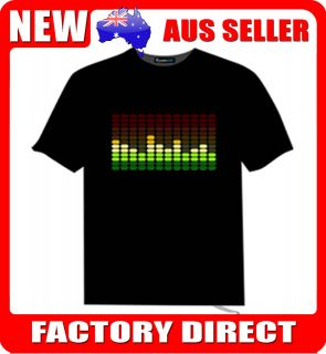 LED T Shirts   Sound Activated Flashing Music Disco Party Equalizer