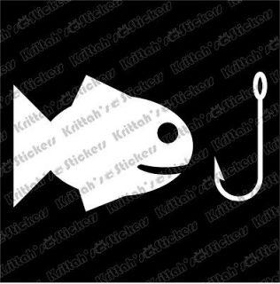 FISH HOOK Vinyl Decal 4x2 car sticker fly fishing rod reel scott