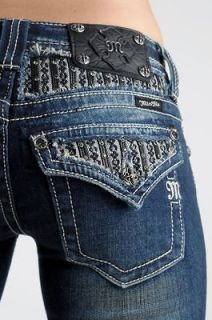 MISS ME New LEATHER & LACE Crystals Boot Cut Dark JEANS, SZ 25 26 27