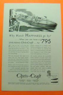 1932 CHRIS CRAFT BOATS Ad Print..LEVEL RIDING CHRIS CRAFT FOR $795
