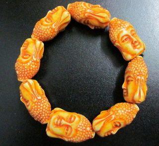 Tibetan Yak Bone Lucky Buddha Head Bead Totem Bracelet 40g #2