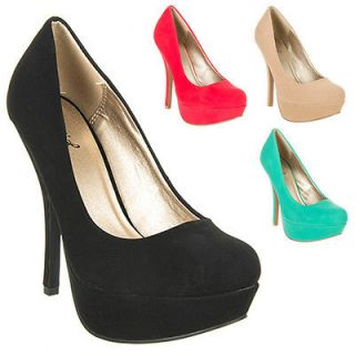 Womens Shoes High Heels Suede Stiletto Pumps Black Orange Blue Green