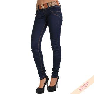 Ladies Dark Washed Skinny Slim Denim Jeans Trouser Pants Tan Belt Low