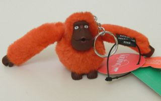 NWT KIPLING Ryan Monkey Keychain Key Ring Bag Charm AC2096 Orange