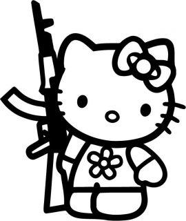 HELLO KITTY Rifle AR15 AK47 JDM Sticker DECAL You pick COLOR Honda