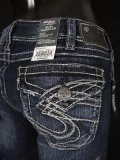 Womens SILVER Jeans Flap Pocket Stitched SUKI Surplus Dark Wash Curvy