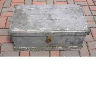 Vintage Wooden Carpenters Tool Box Chest with Metal Corners