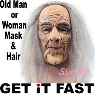 Adult Wrinkly Old Man Lady Wizard Witch 70s 80s Fancy Dress Costume