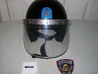 NEW YORK CORRECTIONS RIOT HELMET, PATCH & UNIFORM BAR
