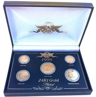 1999 24kt Gold Plated US Coin Set Original Box with 5 Gold Plated