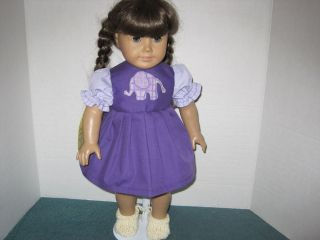 PURPLE ELEPHANT DRESS fits 18 American Girl Dolls & 15 Bitty Baby