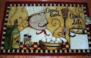 FAT CHEF Area Rug GOOD FOOD GOOD LIFE Kitchen Chefs Decor Rugs NEW